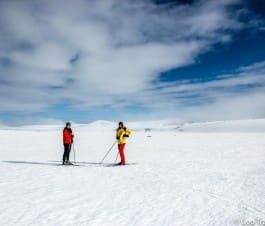 Skiing by Lake Mývatn