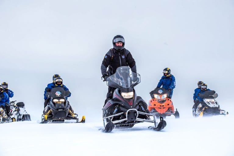 Snowmobile by Mývatn North Iceland. Snowmobile andventure Iceland. Winter tours North Iceand