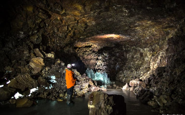 Largest cave in North Iceland. Lofthellir Ice cave.